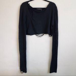 DREAMY Torn Boxy Cropped Sweater